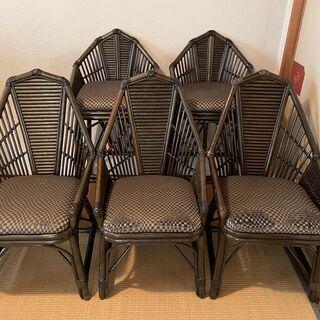 アンティーク 高級家具 椅子 チェア5脚 籐椅子 購入価格10万...
