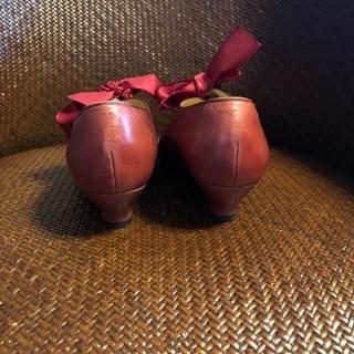 秋色 卑弥呼 パンプス 23センチ ボルドー リボン - 靴/バッグ