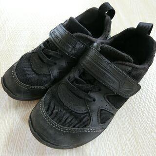 子ども靴 黒 18センチ アキレス 瞬足 足育シリーズ