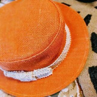 オレンジ色の♡カンカン帽子