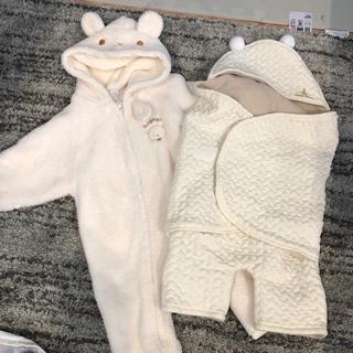 美品 赤ちゃん 冬服 おくるみ カバーオール