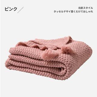【新品・未使用】フリンジ付きブランケット(ピンク・140*…