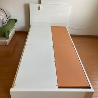 ホワイト 収納引出し付き シングルベッド 組立可能