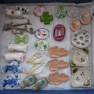 未使用お箸置き 織部焼、萩焼、ガラス製などあれこれあります。