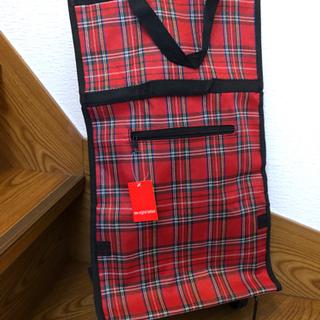 車輪付き 折り畳み買い物バッグ 新品 赤にチェック柄