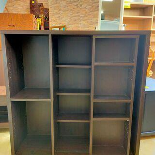 ★ ① スライド式 本棚 ブックラック ダークブラウン 棚板可動...