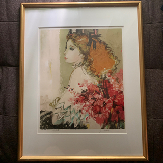 石版画 リトグラフ 今井幸子 『赤い花束のイザベル』