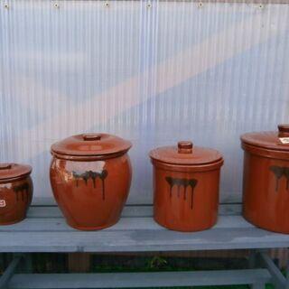 漬物作りなどに! 久松 飲食物容器 壺4個セット(中古・良品)