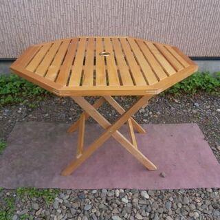 八角形の!! 折りたたみガーデンテーブル(中古・良品)