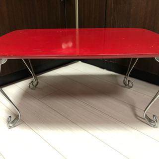 赤色の折りたたみローテーブル