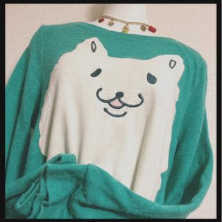 ꒰WIN HEART꒱猫ちゃんニット チュニック青緑系 長…