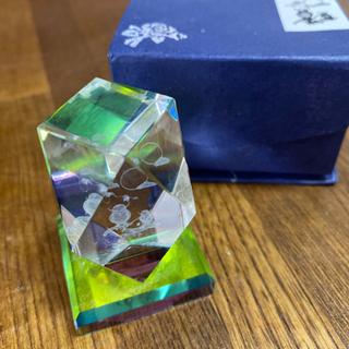 3Dレーザークリスタルガラス 月とフクロウ 箱付き
