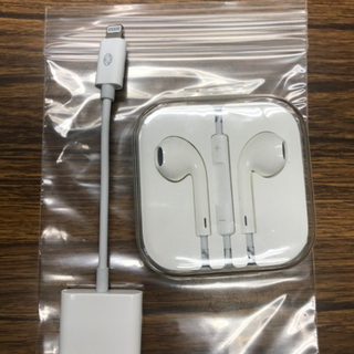 iPhone正規品イヤホン、変換ケーブル付き