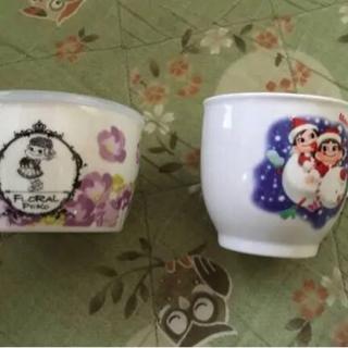 不二家ペコちゃんの花咲くキャニスター新品+usedミニカップ