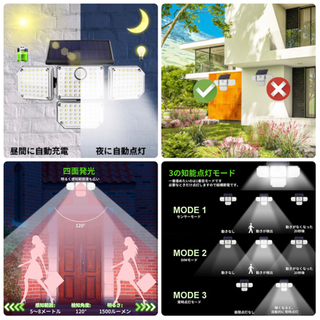 【新品】センサーライト 屋外 ソーラーライト 4面発光 人感センサーライト 3つ知能モード 181LED 180°角度回転 1500LM - 浦添市