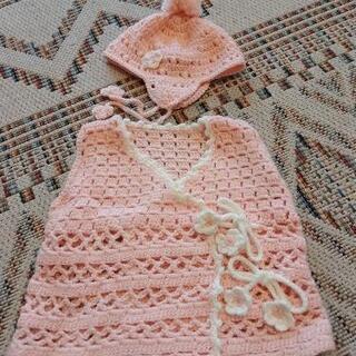 手編みの帽子度ベストのセット