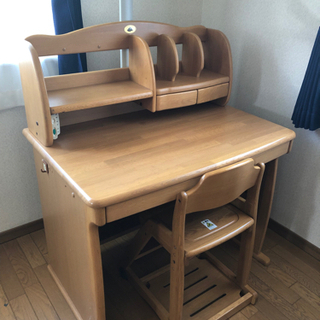 ナラ材天然木 学習机 椅子付き