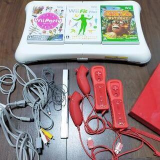 25周年記念☆スーパーマリオ内蔵赤Wii本体+Wii fit p...