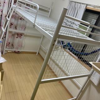 【募集中】超美品 ロフトベッド システムベッド 白 コンセント付宮棚