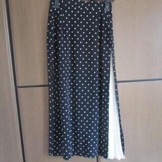 ◆美品 黒白ドット×片側白プリーツのロングスカート◆