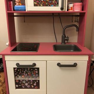 ピンクのキッチン 台所セット フライパン、鍋など付き☆