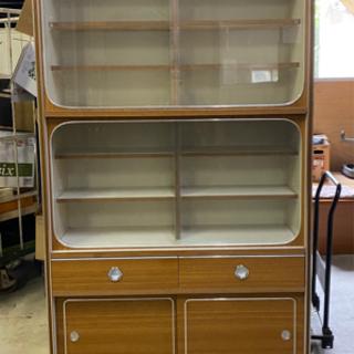 食器棚 木製 ガラス戸 アンティーク 昭和レトロ