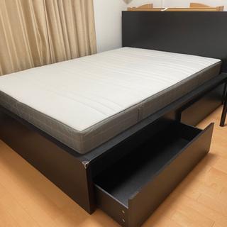 【ネット決済】IKEA ベッドフレーム&ベッド下収納&マットレス...