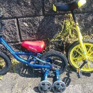 一輪車幼児用自転車走りますセット