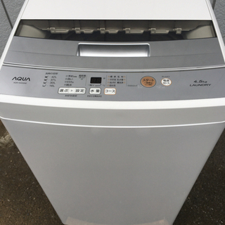 美品■アクア 2019年製 4.5kg 全自動洗濯機 AQW-S...