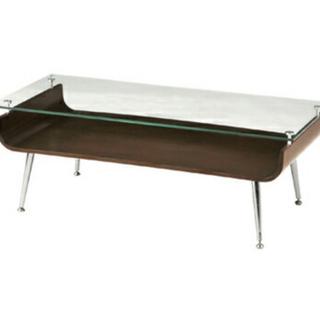 【ネット決済】ソファテーブル ガラス×ウッド 木目調 センターテーブル