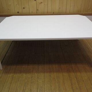 htp-463 折脚テーブル ホワイト 鏡面仕上げ ダイニングテ...