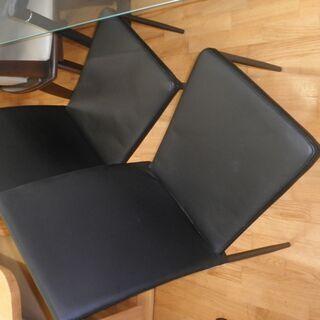 k438☆ダイニングテーブルセット☆ガラスダイニングテーブル5点セット☆テーブル+椅子4脚☆近隣配達、設置可能 - 家具