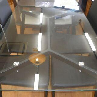 k438☆ダイニングテーブルセット☆ガラスダイニングテーブル5点セット☆テーブル+椅子4脚☆近隣配達、設置可能 - 春日井市