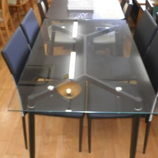 k438☆ダイニングテーブルセット☆ガラスダイニングテーブル5点セット☆テーブル+椅子4脚☆近隣配達、設置可能の画像