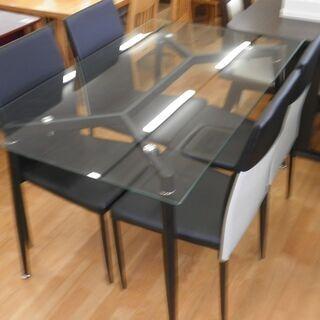 k438☆ダイニングテーブルセット☆ガラスダイニングテーブル5点セット☆テーブル+椅子4脚☆近隣配達、設置可能 - 売ります・あげます