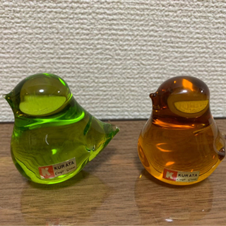 Kurata クラフトグラス 鳥 置物 2点 ★無料配送