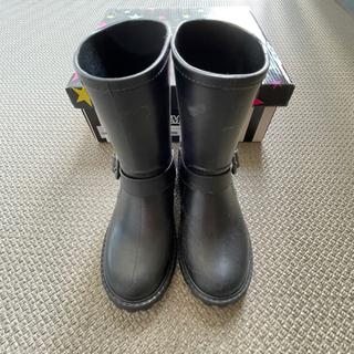 レインブーツ キッズ長靴 19.0 黒 ベルト付き エンジニアブ...