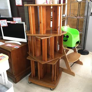 回転する本棚 大容量 3段 木製 キャスター付き ナチュラ…