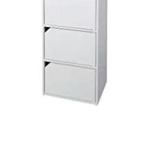 【2点セット】木製3段ボックス 収納棚/ホワイト