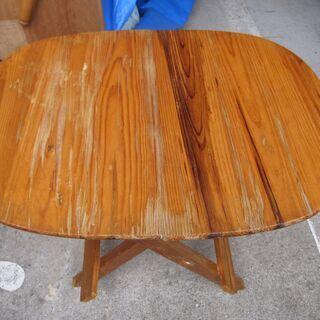 メーカー不明 折りたたみ式 テーブル 楕円形 70cm×5…