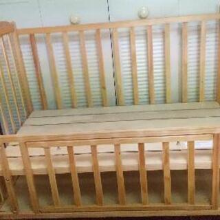 【ネット決済】ベビーベッド ハイタイプ 120×70cm ベッド...