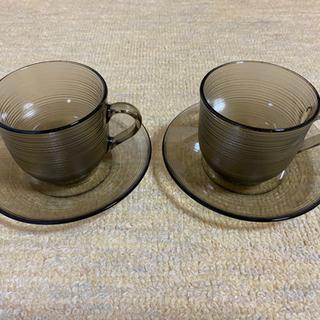 フランス製 耐熱ガラス ティーカップ コーヒーカップ ソーサ 2...