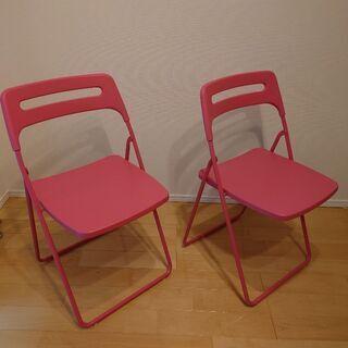 室内利用のみのかわいいパイプ椅子×2 パイプイス パイプいす ス...