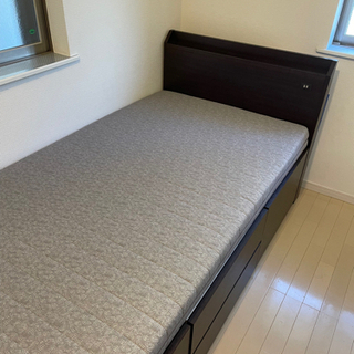 【北欧風 】ウッドデザイン 収納付きベッド&マットレス