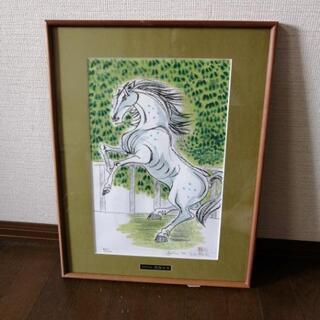 水彩画白馬