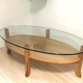 【ガラス天板】オーバル ローテーブル