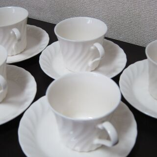 白いコーヒーカップ☆未使用 6客セット カップ&ソーサーの画像
