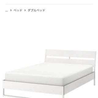 【ネット決済】IKEA 白い ダブルベット160cm 硬めマッド...