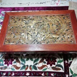 【引き取り限定】木彫りガラス天板テーブル 彫刻机