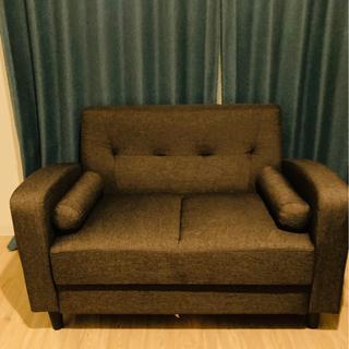 無印 ブラウン2人掛けソファの画像